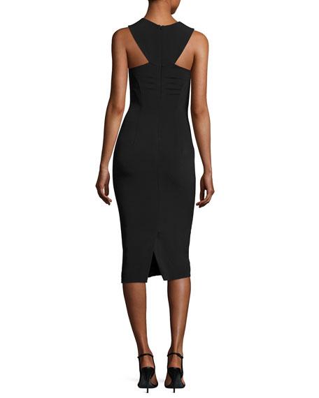Cady Collar Midi Dress, Black