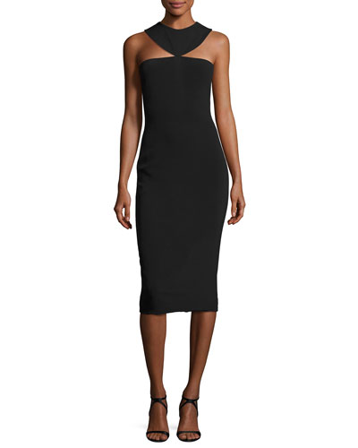 Cady Collar Midi Dress, Black