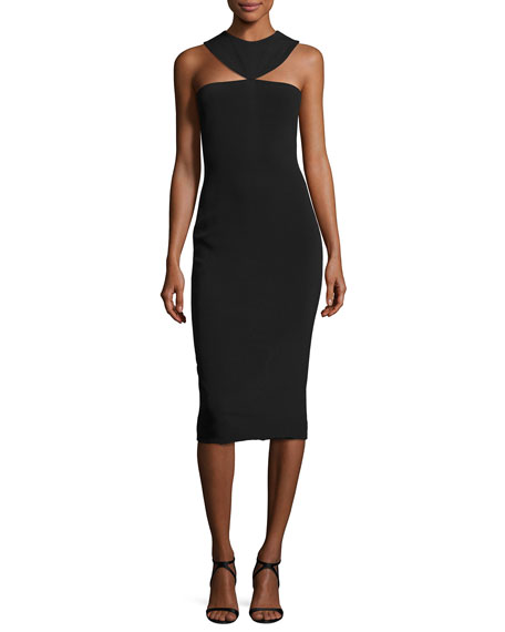 Cushnie Et Ochs Cady Collar Midi Dress, Black