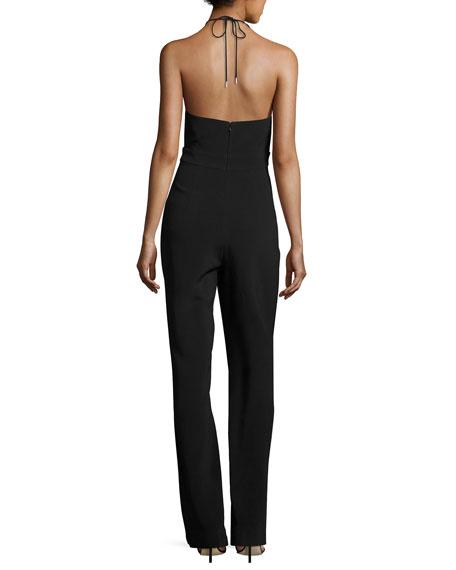 Cutout Cady Halter Jumpsuit, Black