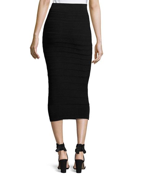 Graduated Knit Pencil Skirt, Black