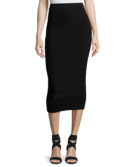 Graduated Knit Pencil Skirt, Black