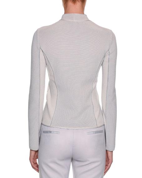 Ottoman-Ribbed Asymmetric-Zip Jacket, Gray