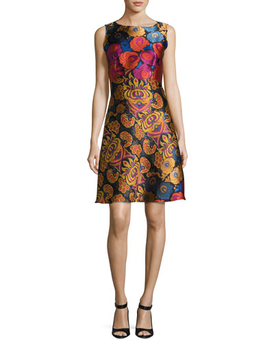 Floral Brocade Sleeveless A-Line Dress, Black