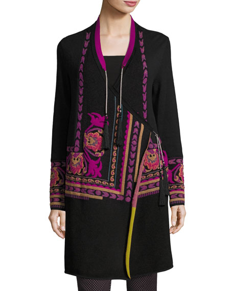 Floral Intarsia Long Wrap Sweater, Black