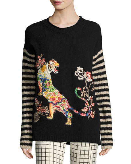 Striped-Sleeve Tiger-Embroidered Wool Sweater, Black