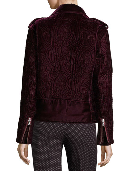 Quilted Velvet Moto Jacket, Purple