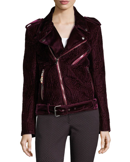 Quilted Velvet Moto Jacket, Purple