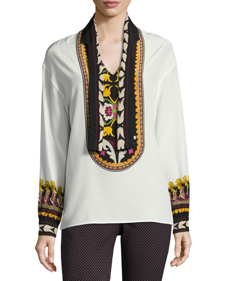 Printed Silk Tie-Neck Blouse, Ivory