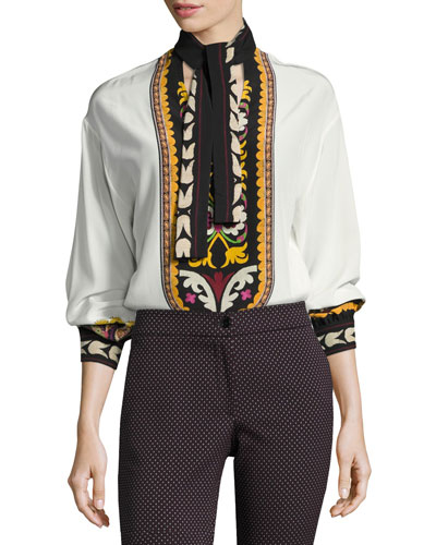 Printed Silk Tie-Neck Blouse, Ivory