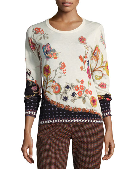 Floral-Print Silk-Cashmere Crewneck Sweater, Ivory