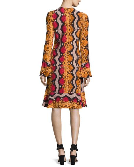 Snake-Print Silk V-Neck Flounce Dress, Orange