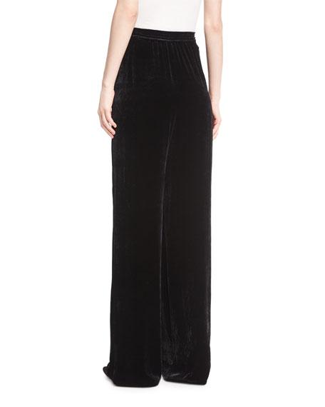 Largo Velvet High-Waist Wide-Leg Pants, Black