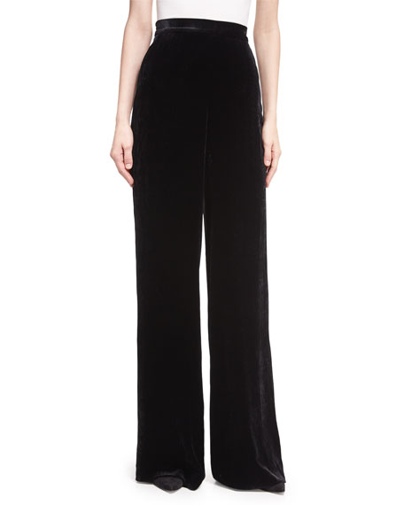 Etro Largo Velvet High-Waist Wide-Leg Pants, Black
