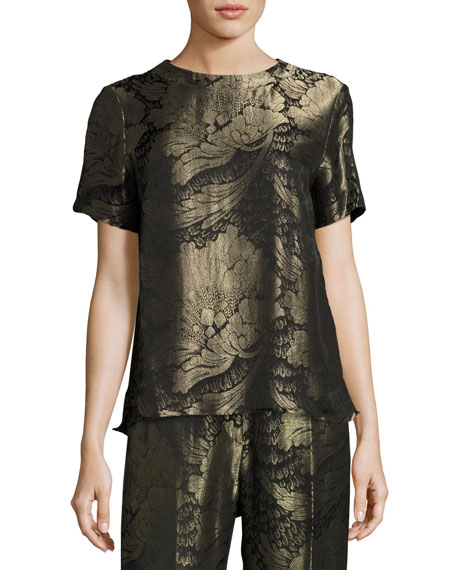 Floral Lamé Jacquard Short-Sleeve Top, Black