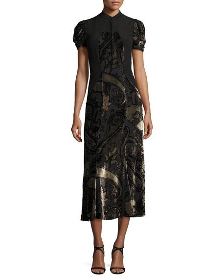 Paisley Dévoré Short-Sleeve Midi Dress, Black