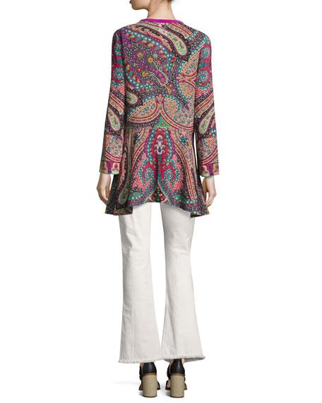 Paisley Silk Lace-Up Tunic, Pink/Purple