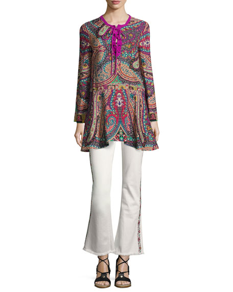 Paisley Silk Lace-Up Tunic, Pink/Purple