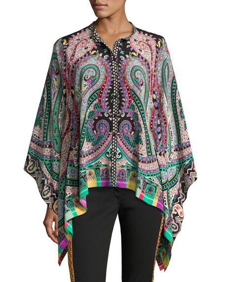 Psychedelic Paisley Silk Blouse, Multicolor