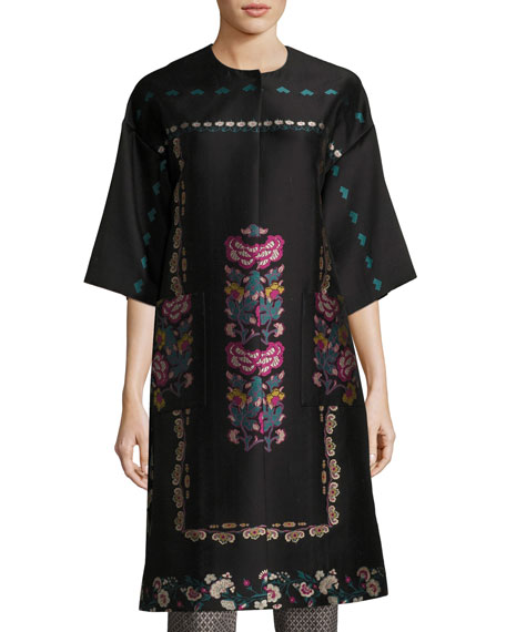 Floral-Embroidered Kimono Topper Coat, Black
