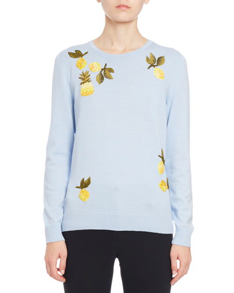 Harding Fruit-Embroidered Sweater, Blue