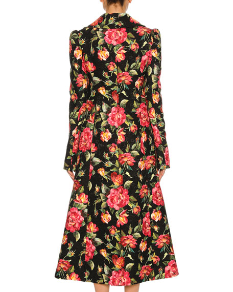Rose-Print Double-Breasted Coat, Black Pattern