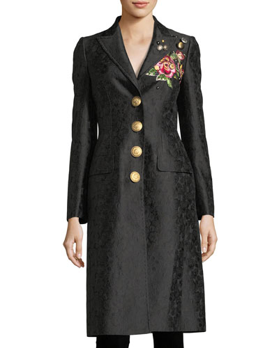Embroidered Jacquard Mid-Length Coat
