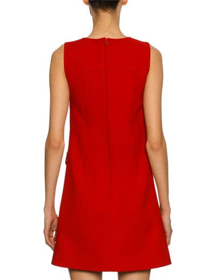 Sleeveless Bow-Embellished Sheath Dress, Red/Gold