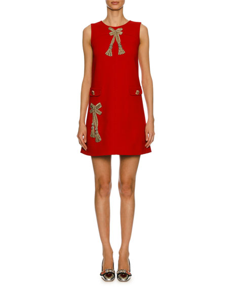 Sleeveless Bow-Embellished Sheath Dress, Red/Gold