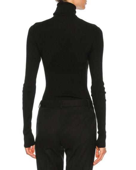 Cashmere-Blend Turtleneck Sweater, Black