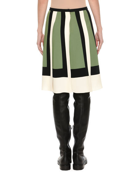 Colorblock-Pleated Crepe Skirt, Multi