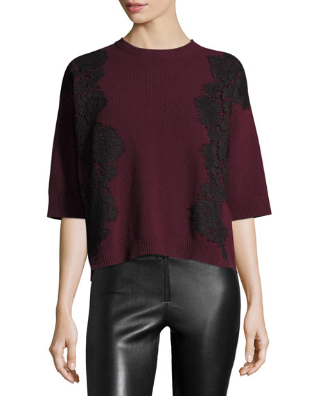 3/4-Sleeve Boxy Lace-Trim Sweater, Red/Black