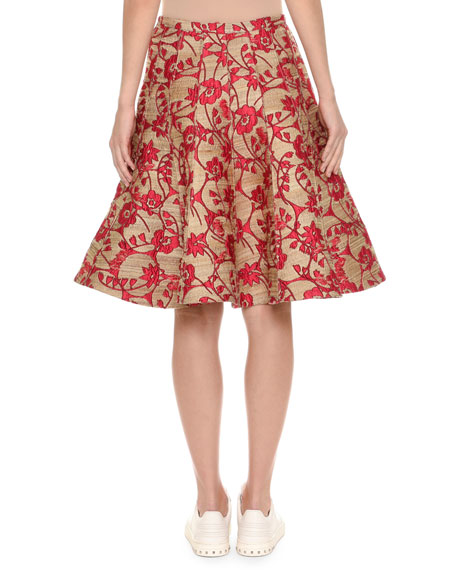 Floral Jacquard Party Skirt, Yellow/Pink