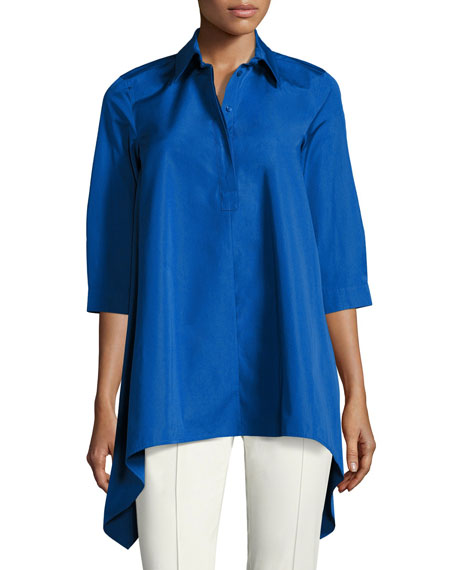 Sateen Trapeze Blouse, Blue