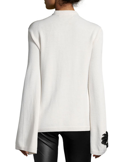 Embroidered Cashmere Sweater, Ivory