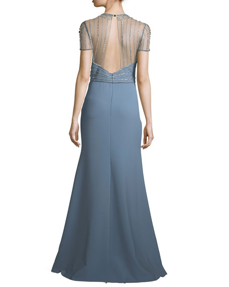 Jenny Packham Beaded-Bodice Illusion Gown