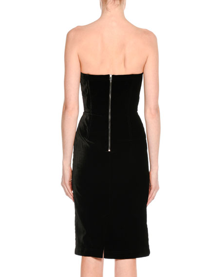 Strapless Velvet Cocktail Dress, Black