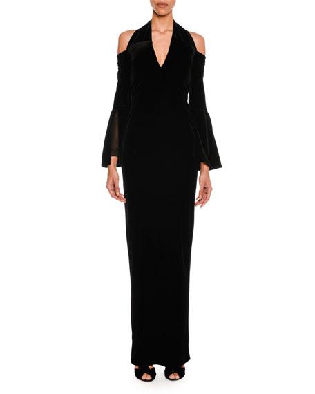 Cold-Shoulder Velvet Halter Gown