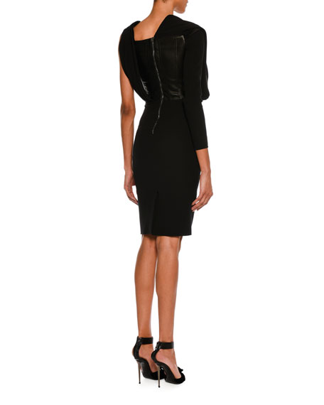One-Sleeve Draped Silk Dress with Leather Corset, Black