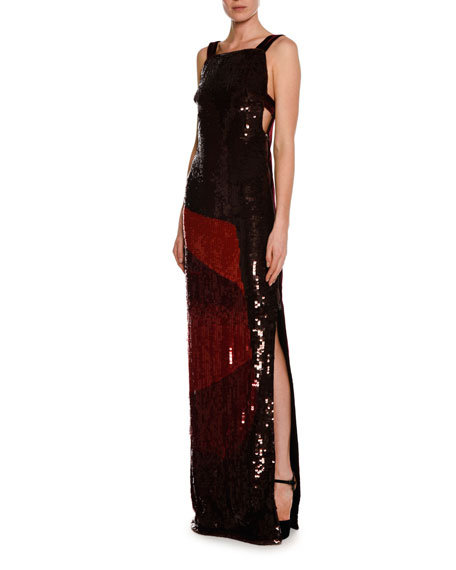 Sleeveless Sequined Square-Neck Column Gown, Red
