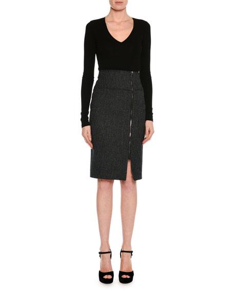 Birds Eye Wool-Blend Skirt, Black