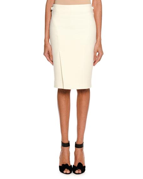 Wool Side-Slit Pencil Skirt, White