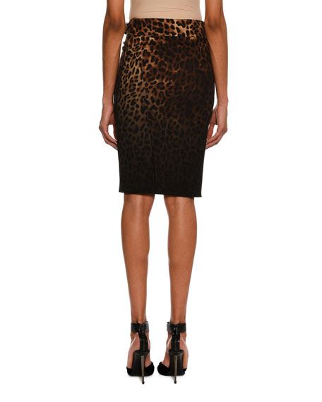 Belted Dégradé Jaguar-Print Pencil Skirt