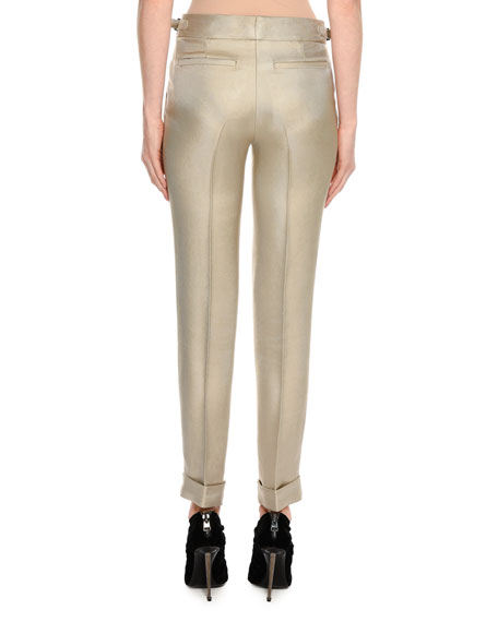 Shiny Viscose Cropped Pants, Gray