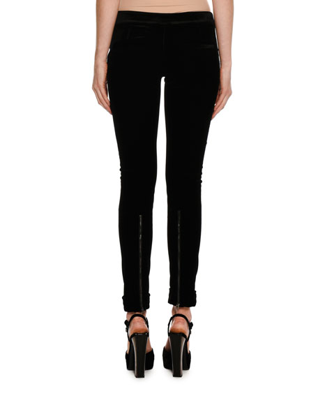 Velvet Zip-Cuff Leggings, Black