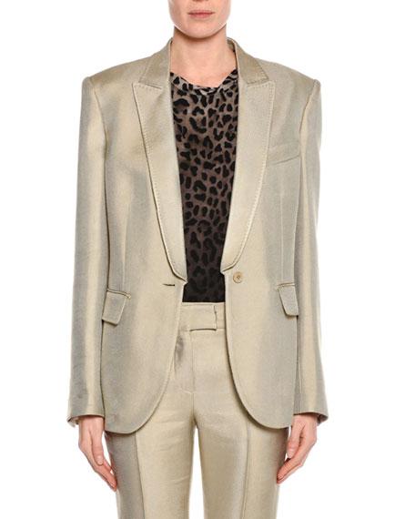 Oversized Shiny Viscose Jacket, Gray