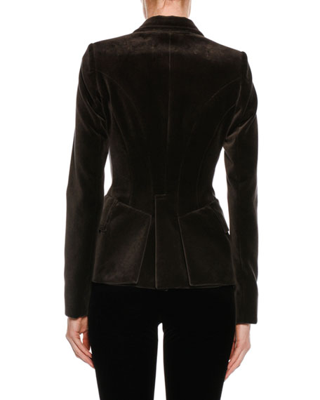 Fitted Velvet Tuxedo Jacket, Black