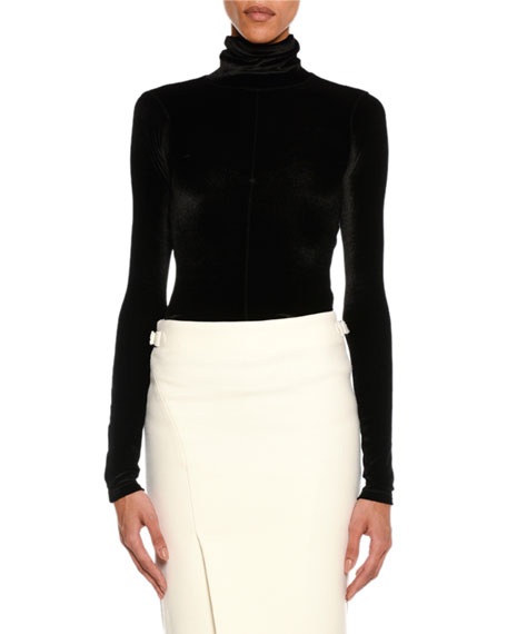 TOM FORD Long-Sleeve Stretch-Velvet Turtleneck, Black