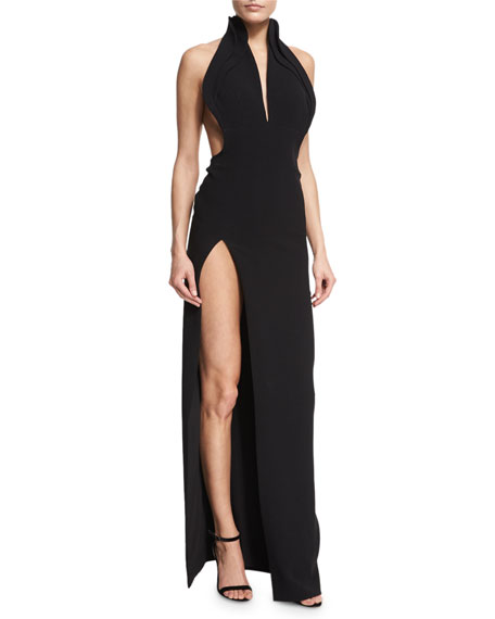 High-Collar Crepe Halter Gown, Black