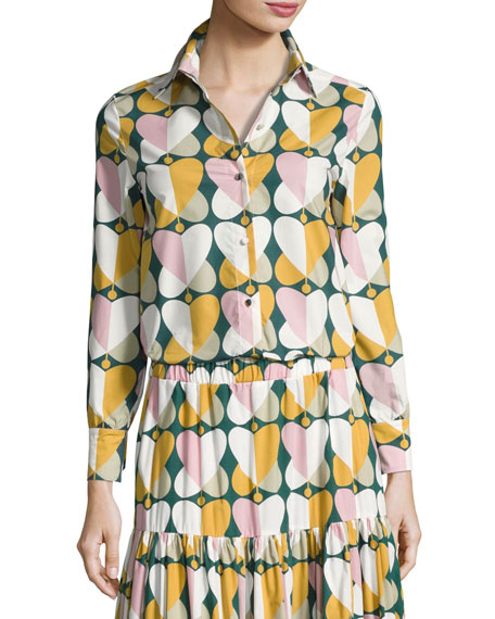 Farafalle Long-Sleeve Blouse, Green Pattern